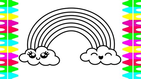 easy rainbow coloring page how to draw a cute rainbow easy coloring pages for kids