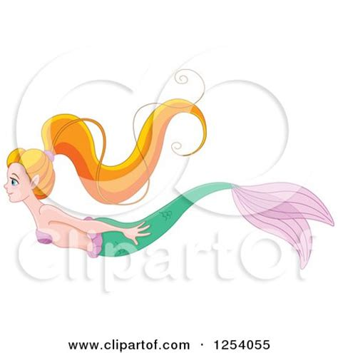 clipart of a swimming haired mermaid royalty free