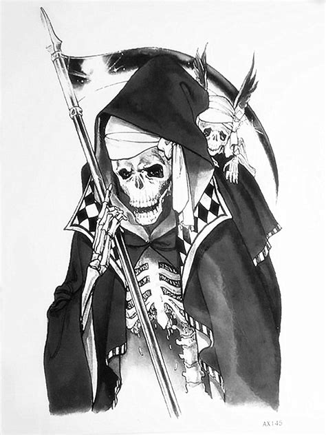grim reaper temporary tattoo paper death skull tattoo