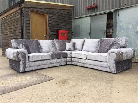 ebay settee velvet grey sofa silver grey crushed velvet corner l shape