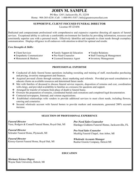 funeral director resume sales executive resume sle job