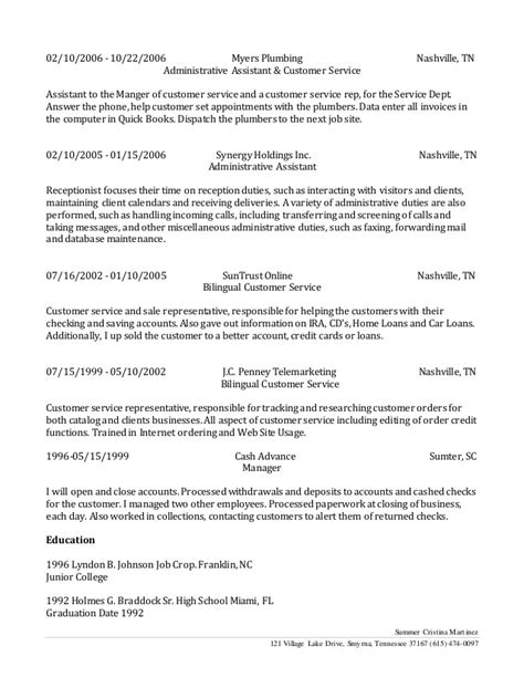 Myers Plumbing Nashville by Bilingual Customer Service Resume