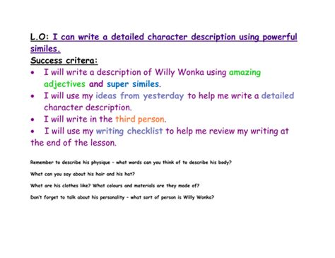 Character Description Letter Willy Wonka Character Description By Thorpedanny3 Teaching Resources Tes