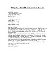 Complaint Letter Against Car Company Complaint Letter Odometer Fraud On Used Car Hashdoc