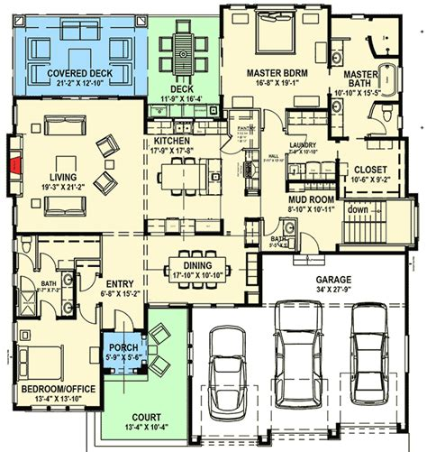 house plans for sloping lots in the rear modern prairie house plan for a rear sloping lot 64421sc