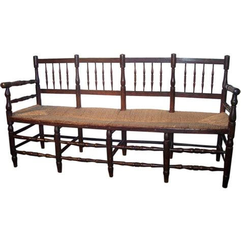 spindle back bench antique french spindle back rush seat bench at 1stdibs