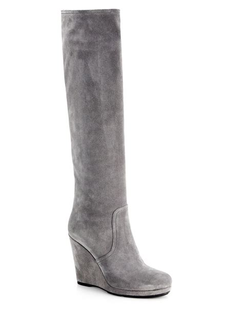 prada suede knee high wedge boots in gray lyst