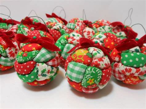 vintage handmade christmas ornament quilted styrofoam ball