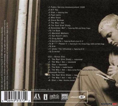 eminem public service announcement 2000 eminem the marshall mathers lp 2xcd limited edition