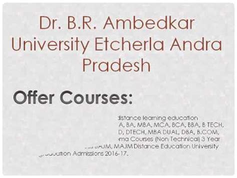 Dr Br Ambedkar Open Mba Distance Education 2015 by Dr B R Ambedkar Distance Education Etcherla Ap