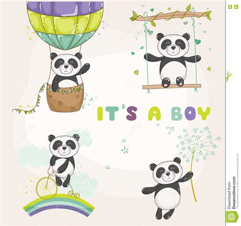Baby Panda Set by Baby Panda Set Baby Shower Or Arrival Card Stock Vector