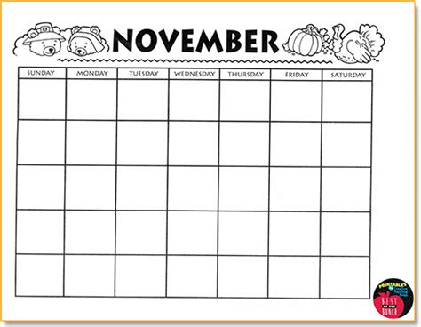 blank december children s calendar blank november calendar for kids blank calendar design 2018