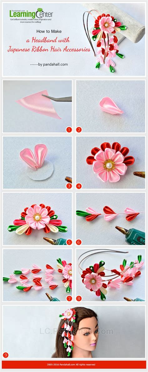Ribbon Lc 1 30100 2795 best kanzashi photo tutorials images on ribbon flower ribbons and fabric flowers