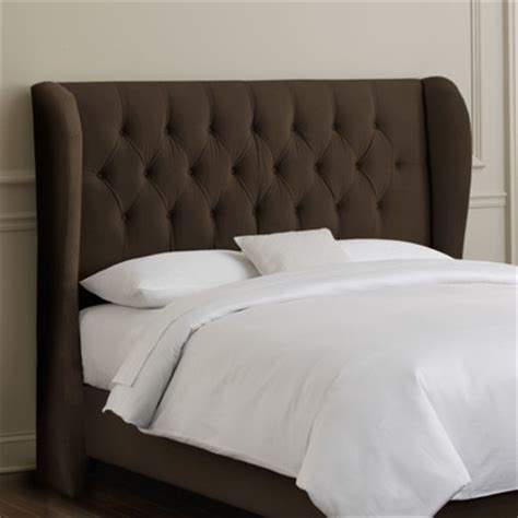 king size tufted headboards buy tufted wingback velvet headboard color chocolate