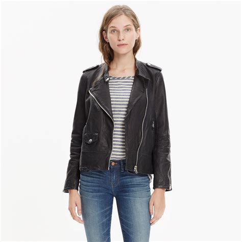 leather swing jacket madewell washed leather swing jacket in black lyst