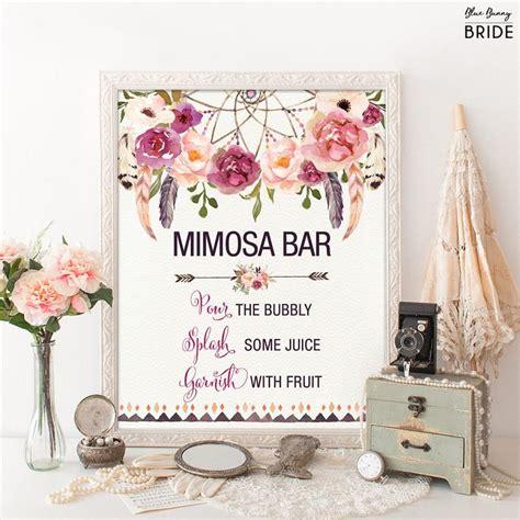 printable wedding shower decorations printable mimosa bar bohemian bridal shower sign boho
