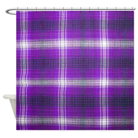 purple plaid shower curtain by thecafemarket