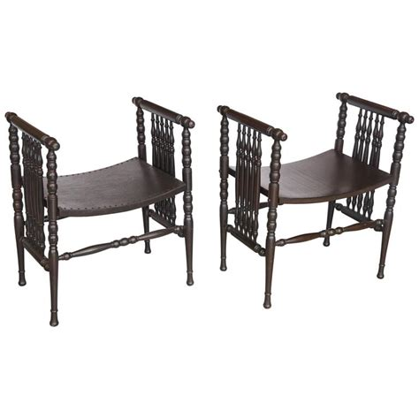 spindle bench pair of antique english spindle benches at 1stdibs