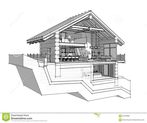 country section 3d section of a country house stock illustration image