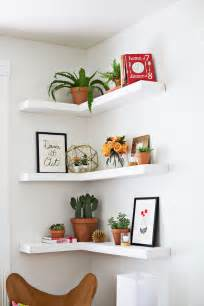 Small Space Home Office Ideas - diy floating corner shelves a beautiful mess
