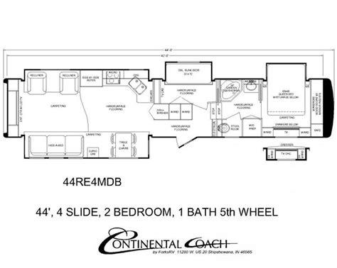 rv 2 bedroom floor plans continental coach 43 double bedroom floorplans trailer