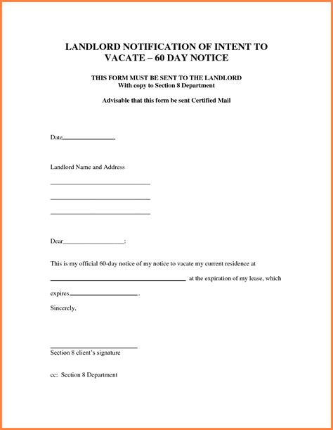 template for 30 day notice to landlord 7 sle letter for 30 day notice to landlord notice letter