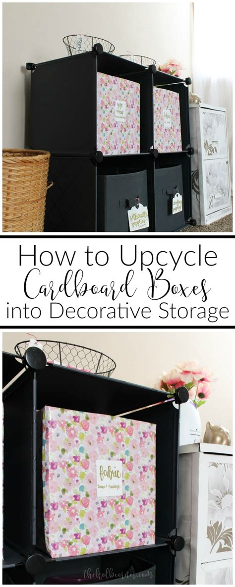 how to upcycle cardboard boxes into decorative storage