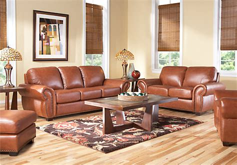 rooms to go living room set sky valley 7 pc leather living room leather living rooms
