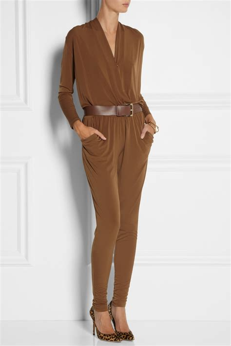 Odena 2 In 1 Jumpsuit Dodshop lyst michael michael kors stretch jersey jumpsuit in brown