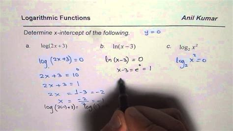 how to find how to find x intercepts for logarithmic functions