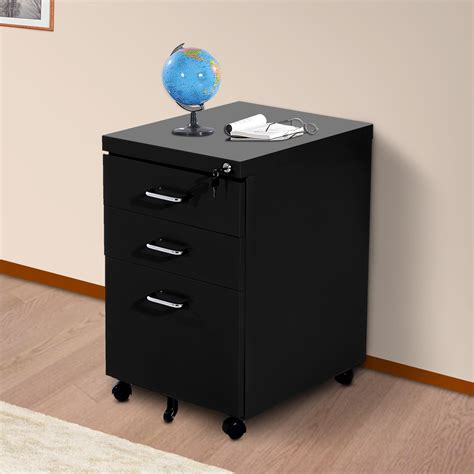 3 drawer metal file cabinet homcom 3 drawers metal filing cabinet lockable w wheels