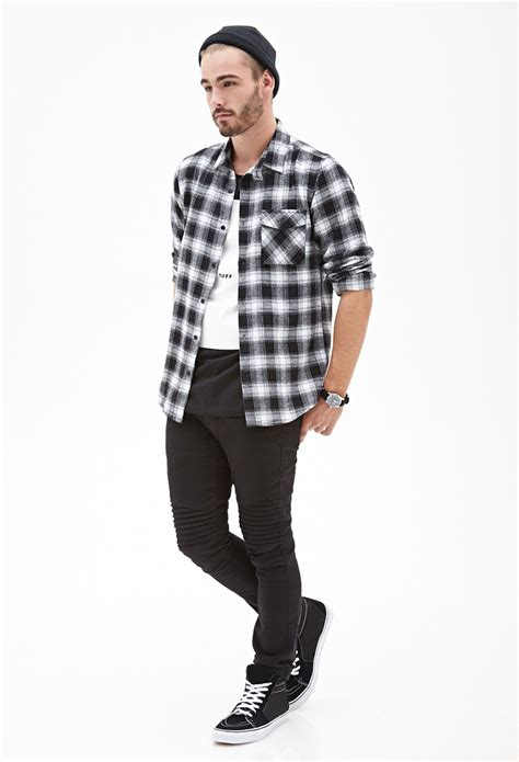 Promo Fashion White Flanel lyst forever 21 blurred plaid flannel shirt in black for