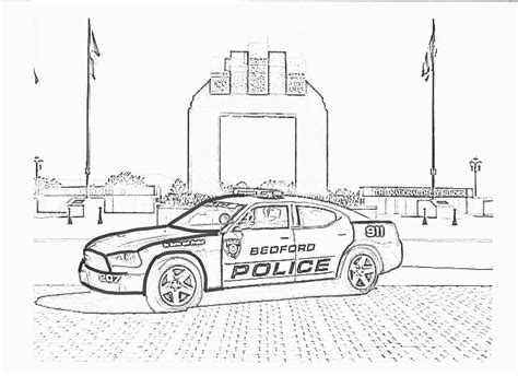 Police Car, : Police Car Patrol on the Road Coloring Page