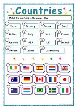 67 free esl flags worksheets