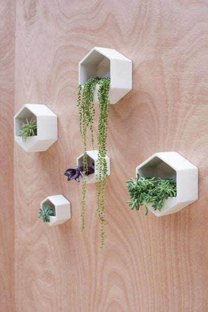 hexagon wall planter black vertical wall planters