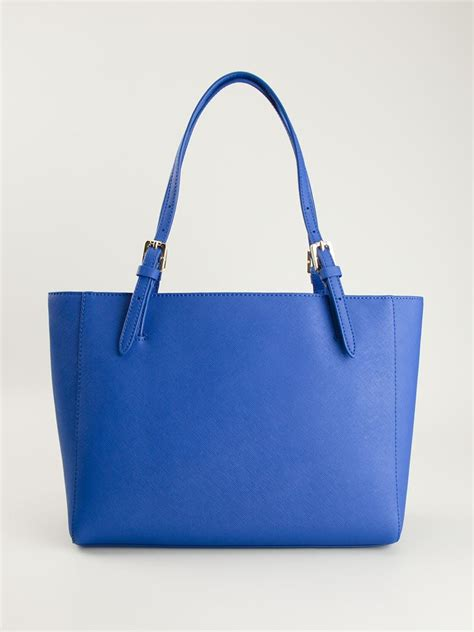 lyst burch small york buckle tote in blue