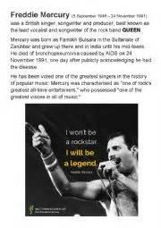 biography of freddie mercury in english english worksheets freddie mercury and queen english