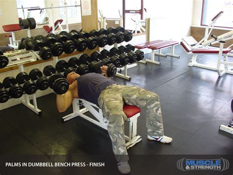 dumbbell bench press tips palms in dumbbell bench press video exercise guide tips