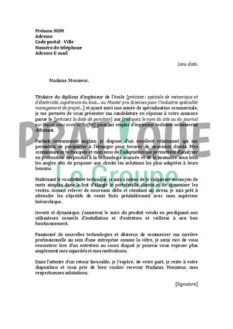 Lettre De Motivation Ecole Ingenieur Post Bac Lettre De Motivation Pour Un Emploi D Ing 233 Nieur Technico Commercial D 233 Butant Pratique Fr