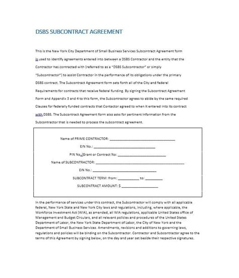 subcontractor agreements need a subcontractor agreement 39 free templates here