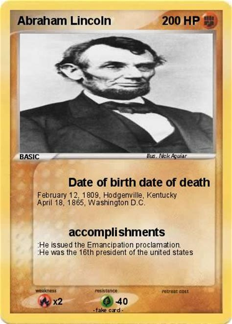 pok 233 mon abraham lincoln 103 103 date of birth date of