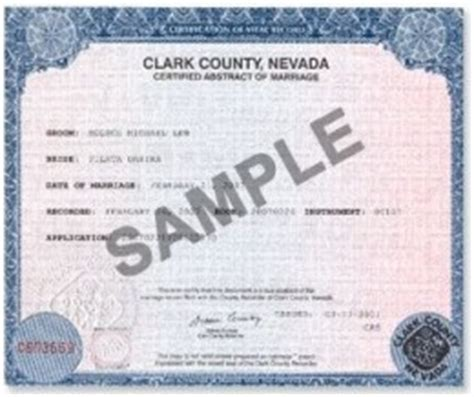 Las Vegas Marriage Record Order Reno And Las Vegas Wedding Certificates