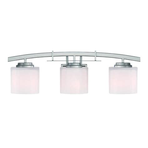 Hton Bay Bathroom Lighting Hton Bay Architecture 3 Light Brushed Nickel Vanity Light 15041 The Home Depot