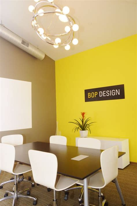 colour themes conf conference room new idea paint white board bright yellow