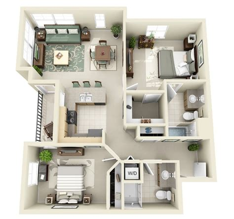 2 Bedroom Designs Plans 2 Bedroom Apartment House Plans