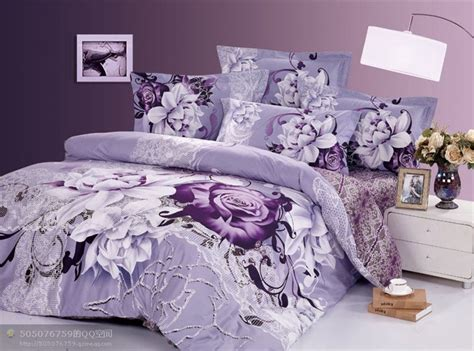 Purple Bedding Sets King New Beautiful 4pc 100 Cotton Comforter Duvet Doona Cover Sets King Size Bedding