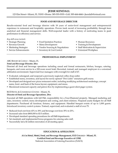 food and beverage manager resume sle food and beverage resume template sle resume cover