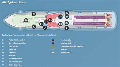 aidaprima position ᐅ kabinen bewertungen bugcam - Aidaprima Deck 8