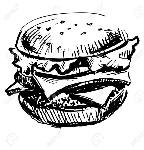 Drawing Vectors by Burger Pencil And In Color Burger