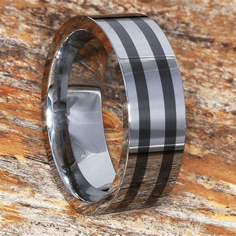 8mm tungsten wedding band with black ceramic inlay 8mm